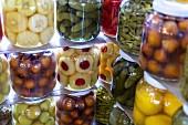 Jars of pickled vegetables and fruit (Turkey)