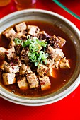 Tofu in a tangy sauce with minced meat, spicy bean paste, chilli and Szechuan pepper