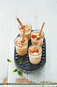Homemade apple ice cream with mint in glasses
