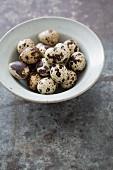 A bowl of quail eggs