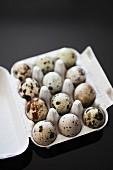 Quails' eggs in an egg box