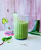 Cucumber and courgette smoothie with kohlrabi leaves and chard