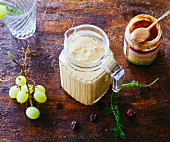Apple and mango smoothie with grapes, cos lettuce, yarrow and rose water