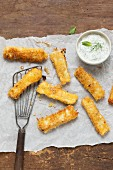 Fish fingers with a cucumber and yoghurt dip