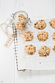 Muesli biscuits on baking paper