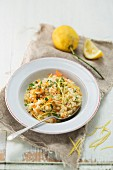 Lemon risotto with carrots, herbs and Parmesan cheese