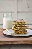 Courgette cakes with a yoghurt sauce