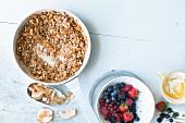 Ingredients for a vegan breakfast
