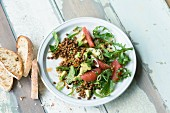 Avocado and lentil salad with pink grapefruit and rocket