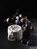 French soft cheese Petit Chaource with red grapes