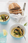 Seafood soup with mussels and dill
