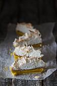 Slices of lemon meringue pie