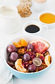 Muesli with fruit and coffee