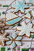 Christmas gingerbread cookies with colourful icing