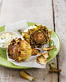 Fried artichokes with a dip