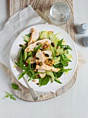 Green herb salad with chicken, apple and a nut dressing