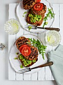 Healthy veggie burgers with avocado and tomato
