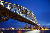 The illuminated harbour bridge by night, Sydney