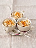Rice pudding with nuts and dried apricots