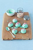 Cake pops in mint green chocolate glaze