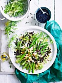 Asparagus and wild rice mimosa salad