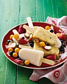 Lychee, green coconut and passion fruit ice lollies