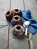Mini chocolate Bundt cakes with icing sugar