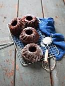 Mini chocolate Bundt cakes with icing sugar