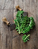 Green kale with a mezzaluna