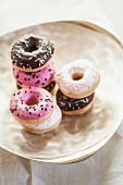 Doughnuts on a silver dish