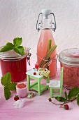 Strawberry jam and wild strawberry jelly with dolls house furniture