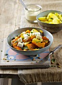 Potato and pumpkin ragout with sheep's cheese