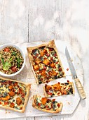 Butternut squash tart with couscous salad