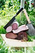 Salami and ham from mast-fed pigs at Fleischerei Heyer in Werdau