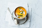 Carrot soup with mango and ginger