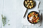 Mediterranean style parsnips with roast potatoes