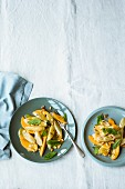 Black salsify salad with persimmon and fresh mint