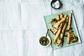 Fried black salsify with king trumpet mushrooms and pesto