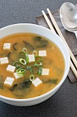 Miso soup with tofu, algae and spring onions