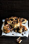 Sticky buns with chocolate chips