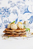 Poppyseed and cinnamon waffles with clementine, ginger and chocolate ice cream