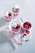 Cream desserts with berry compote
