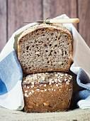 Freshly baked sourdough rye-spelt bread with pumpkin seeds