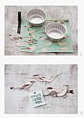 Geschenkverpackung aus Backförmchen & Vogelmotivanhängern selbermachen