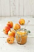 Geschmorte Äpfel im Glas