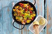 Vegan paella risotto with seitan