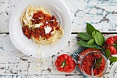 Spaghetti with a seitan and shiitake bolognese