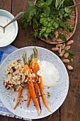 Roasted carrots with almond bulgur and mint yoghurt