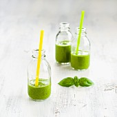 Smoothie made with spinach and basil