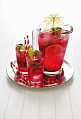 Pomegranate coolers with limes